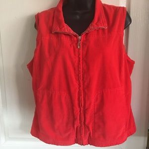 Fresh Produce Red Light Weight Corduroy Vest Med